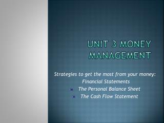 Unit 3 Money Management