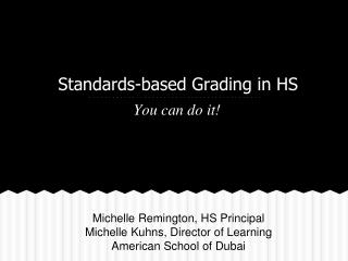 Standards-based Grading in HS