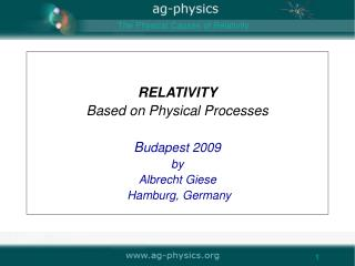 RELATIVITY Based on Physical Processes B udapest 2009 by Albrecht Giese  Hamburg, Germany