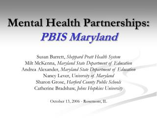 Mental Health Partnerships:  PBIS Maryland