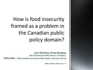 How is food insecurity framed as a problem in the Canadian public policy domain?