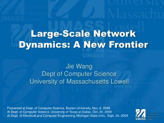 Large-Scale Network Dynamics: A New Frontier