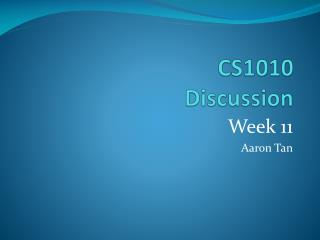CS1010  Discussion