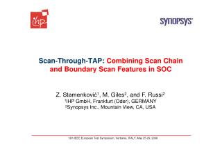 Scan-Through-TAP:  Combining Scan Chain and Boundary Scan Features in SOC