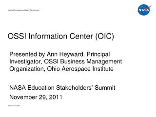 OSSI Information Center (OIC)
