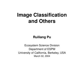 Image Classification and Others
