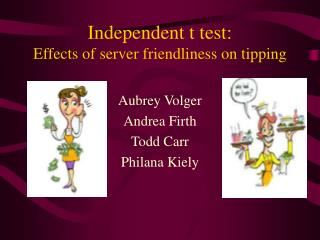 Independent t test:   Effects of server friendliness on tipping