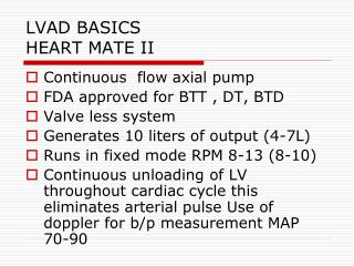 LVAD BASICS HEART MATE II