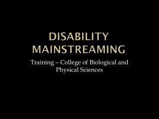 Disability Mainstreaming