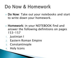 Do Now & Homework