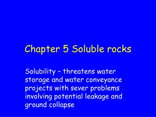 Chapter 5 Soluble rocks