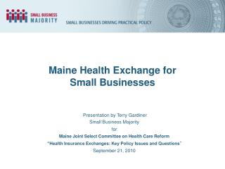 Maine Health Exchange for Small Businesses