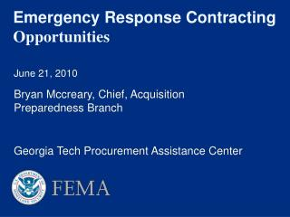 Emergency Response Contracting  Opportunities
