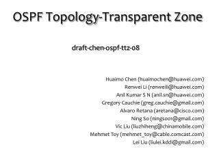 OSPF Topology-Transparent Zone