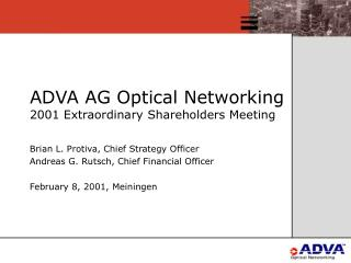 ADVA AG Optical Networking 2001 Extraordinary Shareholders Meeting