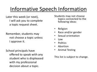 Informative Speech Information