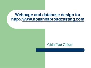 Webpage and database design for  hosannabroadcasting