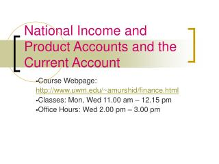 National Income and Product Accounts and the Current Account