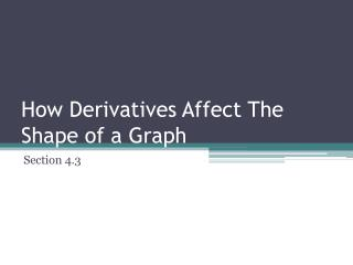 How Derivatives Affect The Shape of a Graph