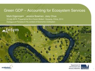 Green GDP – Accounting for Ecosystem Services