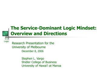 The Service-Dominant Logic Mindset: Overview and Directions