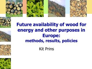 Future availability of wood for energy and other purposes in Europe:  methods, results, policies