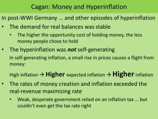 Cagan : Money and Hyperinflation