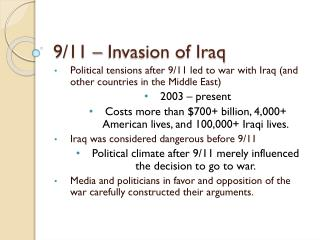 9/11 – Invasion of Iraq