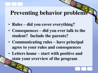 Preventing behavior problems