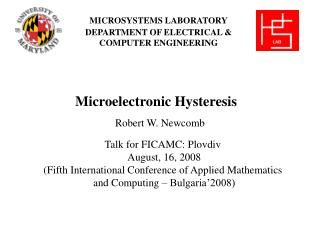 MICROSYSTEMS LABORATORY DEPARTMENT OF ELECTRICAL & COMPUTER ENGINEERING