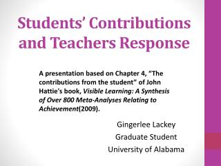 Students' Contributions and Teachers Response