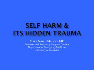 Self harm  &  its  hidden  Trauma