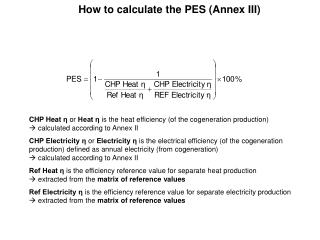 How to calculate the PES (Annex III)