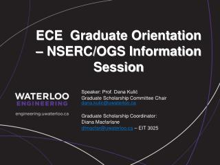 ECE  Graduate Orientation – NSERC/OGS Information Session