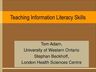 Teaching Information Literacy Skills