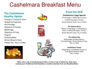 Cashelmara Breakfast Menu