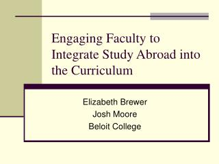 Engaging Faculty to Integrate Study Abroad into the Curriculum