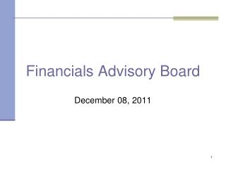 Financials Advisory Board