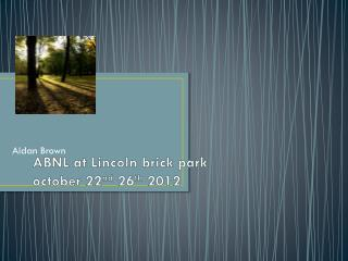 ABNL at  L incoln brick park october  22 nd  26 th  2012