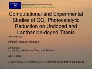 Computational and Experimental Studies of CO 2  Photocatalytic Reduction on Undoped and Lanthanide-doped Titania