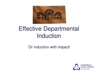 Effective Departmental Induction