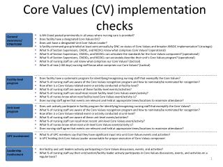 Core Values (CV) implementation checks