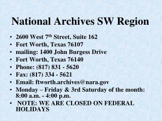 National Archives SW Region