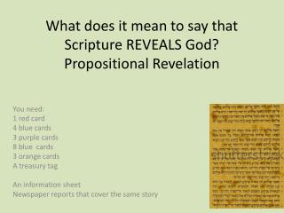 What does it mean to say that Scripture REVEALS God? Propositional Revelation