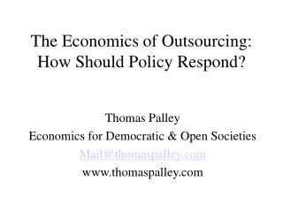 The Economics of Outsourcing: How Should Policy Respond?