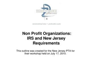 Non Profit Organizations: IRS and New Jersey Requirements
