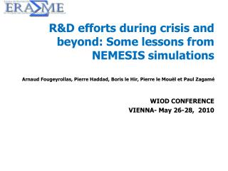 R&D efforts during crisis and beyond: Some lessons from NEMESIS simulations