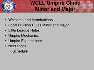 WCLL Umpire Clinic  Minor and Major