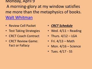Review Cell Packet Test Taking Strategies CRCT Coach Contract CRCT Review Game: Fact or Fallacy