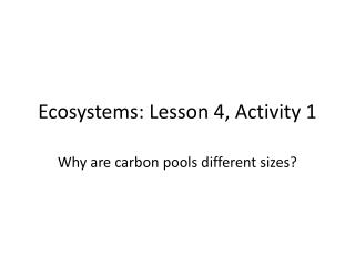 Ecosystems: Lesson 4, Activity 1